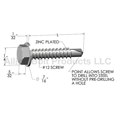 12 X 1 3 4 Quot Unslotted Hex Washer Tek Screw Zinc Plated 3