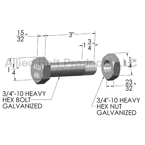 Replacement Bolt And Nut Set For Anchor Extensions And