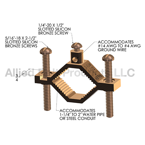 1 1 4 Quot 2 Quot Bronze Pipe Clamp Direct Burial Allied Bolt